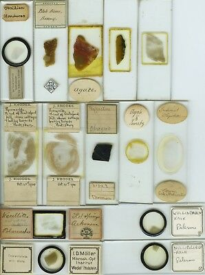 14 Mineral Thin Section Microscope Slides by Various Makers