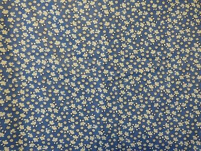 vintage blue & white mini floral print cotton fabric 38 wide x 1.5 yards