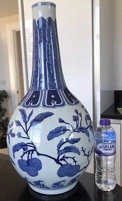 Antique Large Chinese Blue And White Underglaze Vase