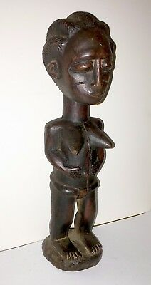 Akan People Old Carved Wood Statue Of Standing Female Figure - From Ghana