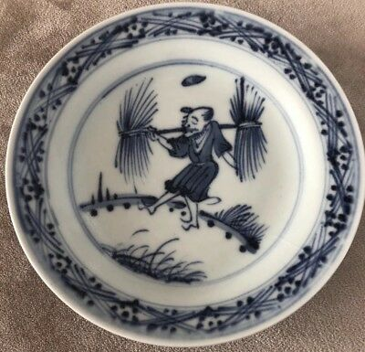 Antique Very Old Chinese Blue And White Underglaze Plate