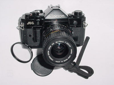 Canon A-1 35mm SLR Film MANUAL Camera with A1 Canon 35-70mm F3.5-4.5 Zoom Lens