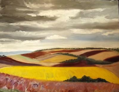 MARGARET HARMSWORTH (Born 1928) French Modernist Stormy LANDSCAPE OIL PAINTING