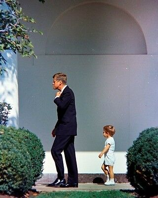 President John F. Kennedy and JFK Jr. on West Wing Colonnade New 8x10 Photo