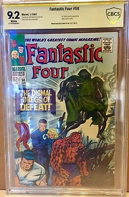 Fantastic Four #58 CBCS 9.2 Witnessed Signature Stan Lee Dr. Doom Silver Surfer