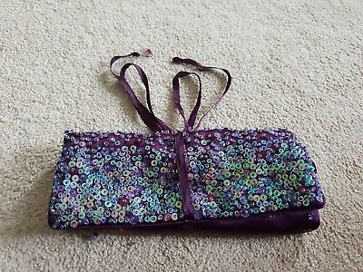 Lovely Purple Violet Sparkly Embellished Bead Sequin Travel Jewellery Bag Roll