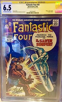 Fantastic Four #55 CGC 6.5 Signed Stan Lee Classic Silver Surfer Vs. Thing CBCS