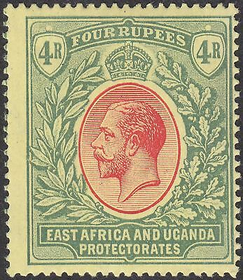 East Africa and Uganda 1912 KGV 4r Red and Green on Yellow Mint SG56 cat £60
