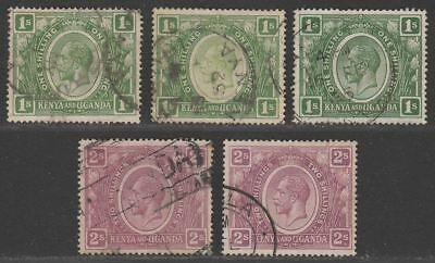 Kenya and Uganda 1922 King George V 1sh, 2sh Selection Postally Used