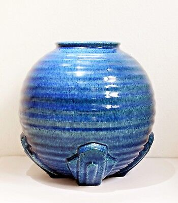 Lovely Good Sized Vintage Blue Ridged Art Deco Vase - Made in England. Round