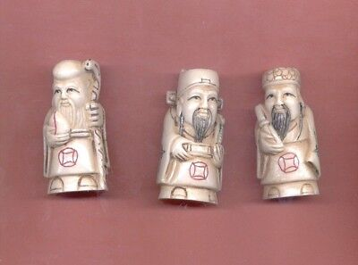 Three Fortune Gods  Immortals Vintage Hand Carved 2 In Netsuke Set Of 3   654