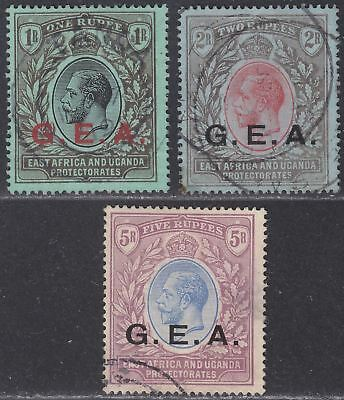 Tanganyika 1917 King George V GEA Overprint 1r, 2r, 5r Used cat £200 with faults