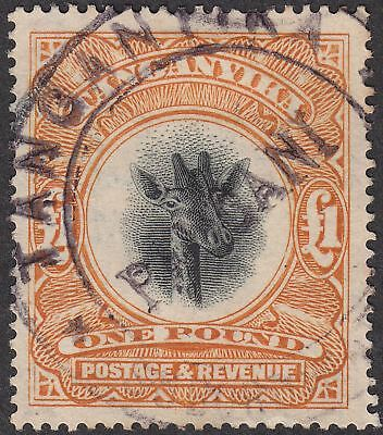 Tanganyika 1922 KGV Giraffe £1 Yellow-Orange Fiscally Used SG88 cat £800 as post