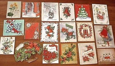 Vintage Christmas Holiday Greeting Cards 1940s Lot of 18 Used