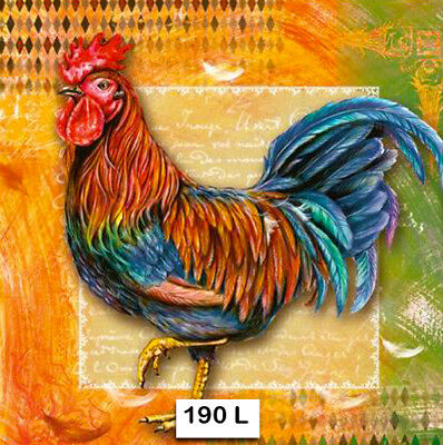 (190) TWO Individual Paper Luncheon Decoupage Napkins - ROOSTER CHICKEN COCKEREL