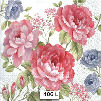 (406) TWO Individual Paper Luncheon Decoupage Napkins - FLOWERS ROSES FLORAL