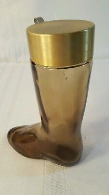 Avon Brown Glass Boot- Leather Cologne Decanter Collectible 1970's