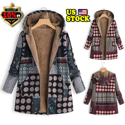 Plus Size Women Boho Hippie Hooded Coat Ladies Winter Warm Padded Parka Overwear