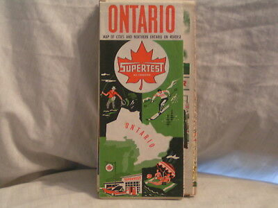 1961 Supertest Road Map For Ontario