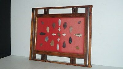 21 Native American Stone Artifact Arrowheads In Framed Hanging Wall Display