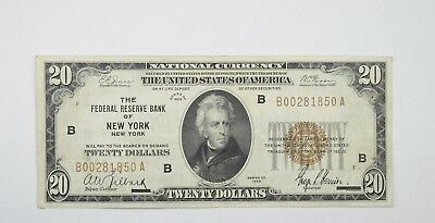 1929 $20 Federal Reserve of New York National Currency Note - Fr. 1870-B *3561