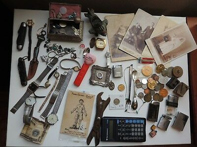 Vintage Junk Drawer Lot knives, lighters,some coins ,tokens,watches, jewelry.