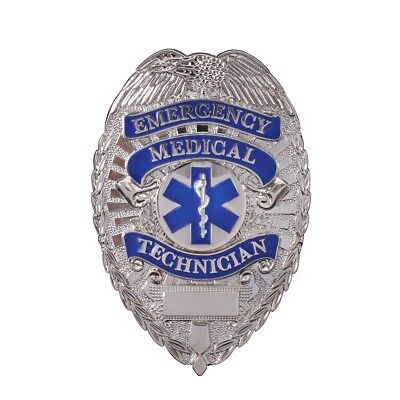 EMT Silver Badge Emergency Medical Technician Fire Dept Service EMS Firefighter
