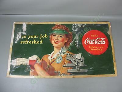 "Rare Vtg WW2-Era 1943 Coca-Cola Cardboard Sign Face Your Job Refreshed 20""x 36"""
