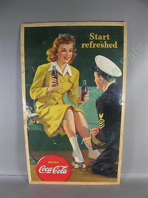 Vtg 1943 Start Refreshed Drink Coca-Cola Cardboard Litho Sign Judy Garland 16x27