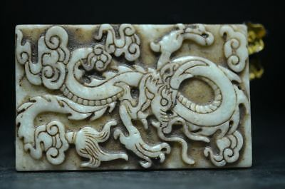 Chinese exquisite old jade dragon amulet statue Pendant   a04