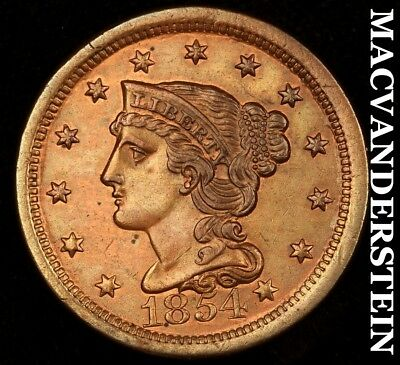 1854 Braided Hair Large Cent- Almost Uncirculated+/uncirculated !! #h6333