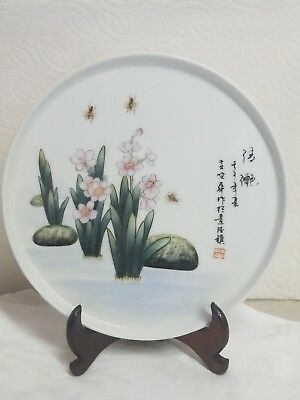 antique Chinese Famille Rose nature bees  Porcelain Tile Plaque / Plate Signed