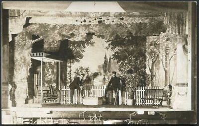 RPPC ACTORS on ELABORATE STAGE THEATER ANTIQUE REAL PHOTO POSTCARD c 1910