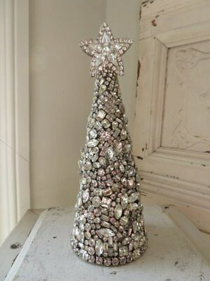 OMG CONE SHAPED CHRISTMAS TREE COVERED Old Vintage RHINESTONE JEWELRY Star Top