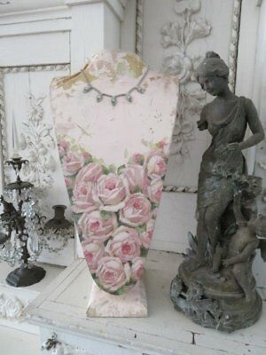 ORIGINAL Christie REPASY PAINTING Vintage Torso JEWELRY HOLDER Stand PINK ROSES