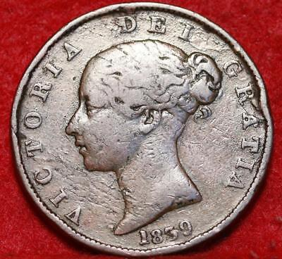 1839 Isle Of Man 1/2 Penny Foreign Coin