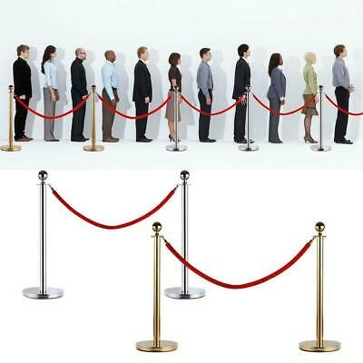 New 2/4/6 PCS Stainless Steel Stanchion Posts w/Red Velvet Rope Queue Barrier