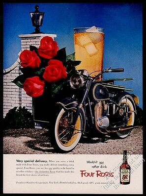 1953 green motorcycle photo Four Roses Whiskey vintage print ad