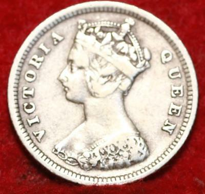 1888 Hong Kong 10 Cents Silver Foreign Coin