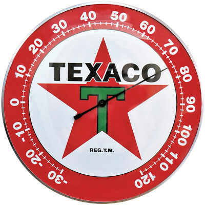 "NEW Texaco Star 12"" Round Thermometer - Officially Licensed w/ Hanging Hardware"