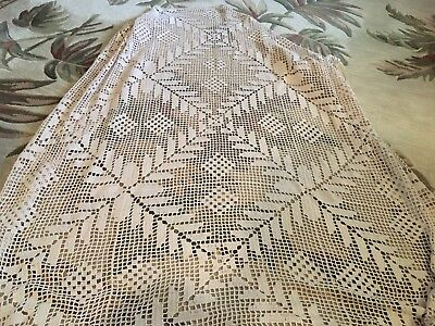 "VINTAGE Beautiful Hand Crochet Tablecloth Ecru  60"" X 60"""