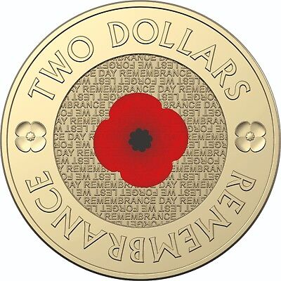 2018 Australia UNC $2 Coin - Remembrance Red Poppy (2012 Style Reverse)