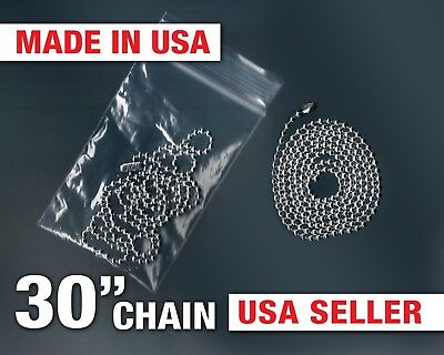 """Dog Tag 30"""" Ball Chain 2.4mm Ball 30 Inch Necklace Military Aluminum Army Navy"""