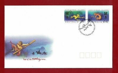 2004 Christmas Island Year of the Monkey SG 540/1 FDC
