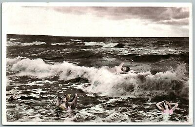 GIRLS in the OCEAN ANTIQUE REAL PHOTO POSTCARD RPPC PHOTOMONTAGE