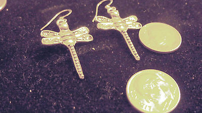 bling silver plated MYTH bug WICCAN gothic dragonfly dangle ear ring JEWELRY DIY