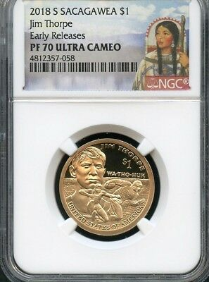 2018 S Sacagawea $1 Jim Thorpe Early Releases NGC PF70 Ultra Cameo (Portrait)