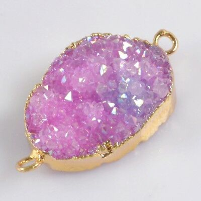 Hot Pink Agate Titanium Druzy Connector Gold Plated B072604