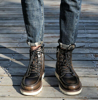 Mens Lace Up Flat Ankel Boots Genuine Leather Military Punk Vintage Riding Boots