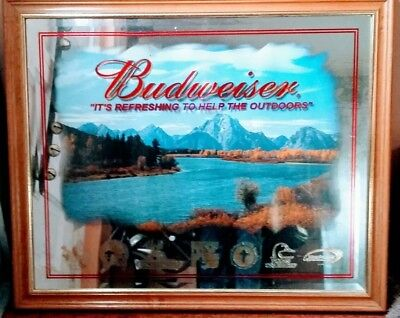 """Budweiser Wildlife Mirror."""" It's Refreshing To Help The Outdoors"""" Rare"""